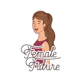 Vrouw met toekomstige toekomstig avatarkarakter van het label