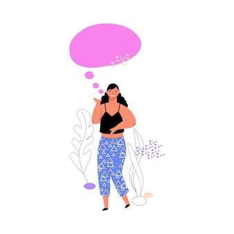 Vrouw met toespraak gesprek bubble cartoon vectorillustratie geïsoleerd