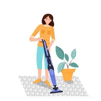 Vrouw met vacuüm in haar handen die tapijt schoonmaakt. platte vectorillustratie