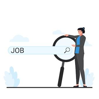 Vrouw met vergrootglas achter de metafoor van de zoekbalk van het zoeken naar werk.