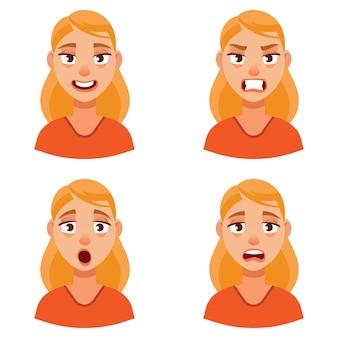 Vrouw met verschillende emoties. vrouwelijk portret in cartoon-stijl.
