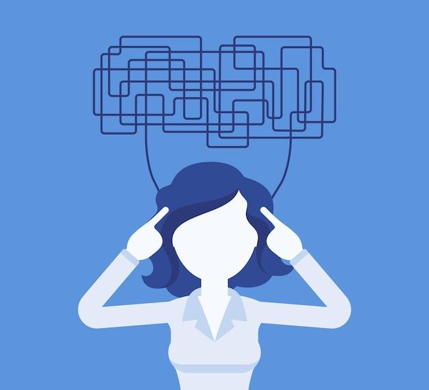 Vrouw met verwarde gedachten die niet helder kunnen denken voor een beslissing. ingewikkelde, chaotische ideeën in wanorde, manager perplex met taken, hoofd vol problemen. vectorillustratie, gezichtsloos karakter