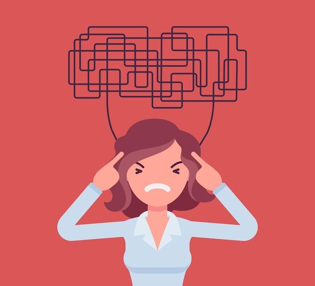Vrouw met verwarde gedachten die niet in staat is om helder na te denken voor een besluit