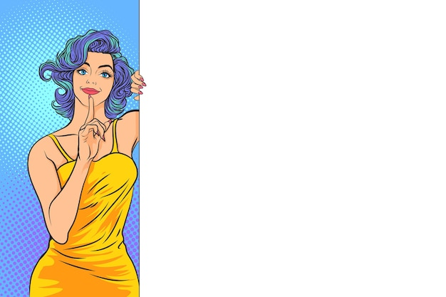 Vrouw met vinger stilte gebaar en teken en witte ruimte aankondigen