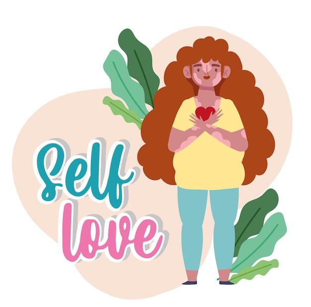 Vrouw met vitiligo en hart in handen cartoon karakter zelfliefde illustratie