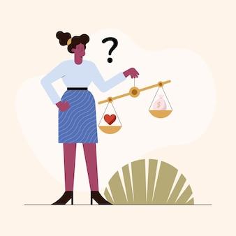 Vrouw met zakelijke ethiek balans