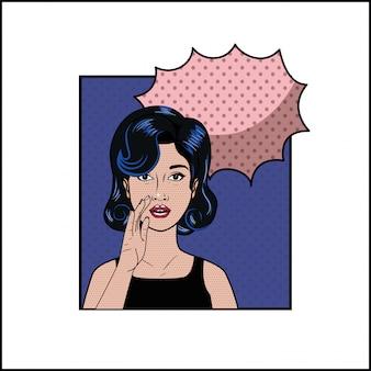 Vrouw met zwart haar en spraak bubbel pop-art stijl