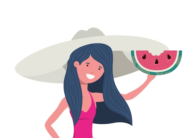 Vrouw met zwempak en een gedeelte van watermeloen ter beschikking