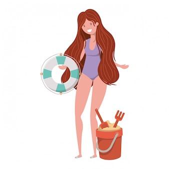 Vrouw met zwempak en reddingsvlotter in wit