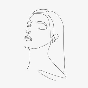 Vrouw minimale handgetekende illustratie. tekening in één lijnstijl. Premium Vector