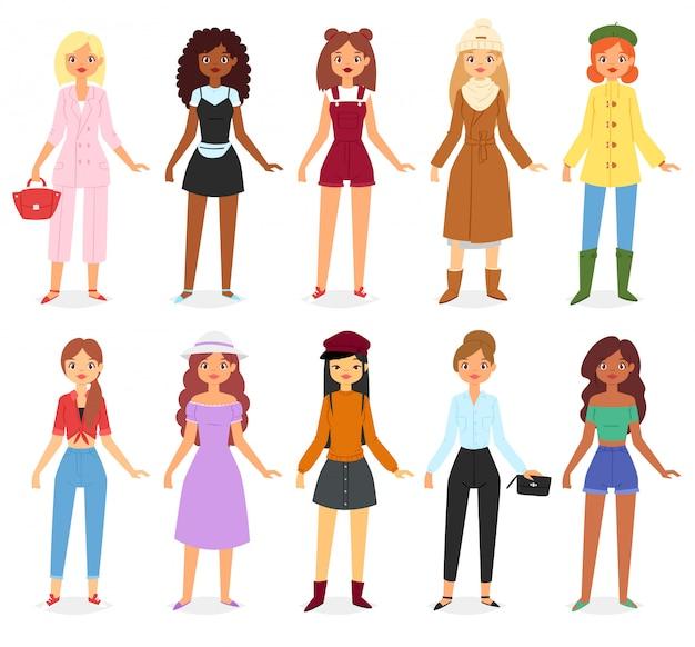 Vrouw mode kijkt kleding set