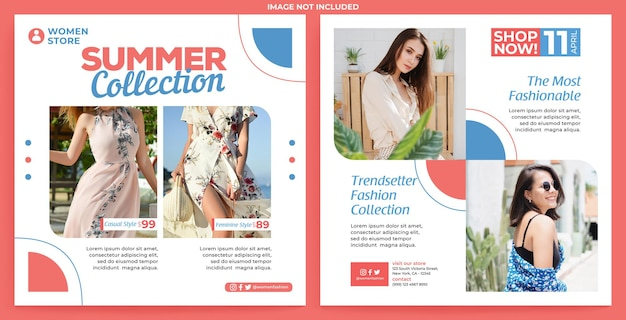 Vrouw mode promotie instagram feed sjabloon in platte ontwerpstijl