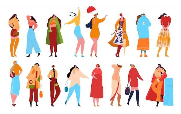 Vrouw mode tekens op witte afbeelding. mooie vrouwen in manierkleren. vrouwelijke personages met accessoires. dames casual, modieuze elegante stijlencollectie.