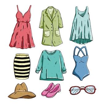 Vrouw modieuze kleding en accessoires met gekleurde schetsstijl