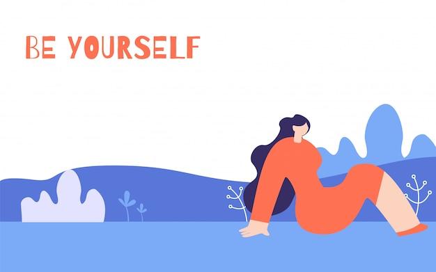 Vrouw motivatie horizontale poster in floral stijl