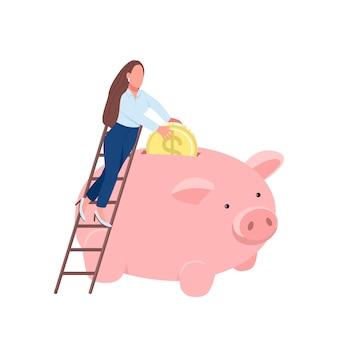 Vrouw munt aanbrengend spaarvarken platte concept illustratie