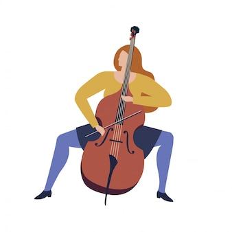 Vrouw musicus spelen cello cartoon grappige illustratie