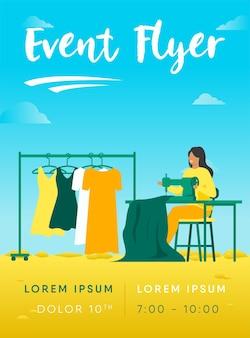 Vrouw naaien nieuwe jurk op sjabloon folder stiksels machine