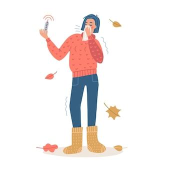 Vrouw niest bedekt met weefsel. coronavirus covid-19 uitbraak concept. vrouwelijk personage van volledige lengte met een trui en gebreide sokken en een thermometer in de hand. platte vectorillustratie