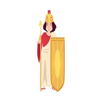 Vrouw of athena griekse godin staat met speer en schild cartoon stijl