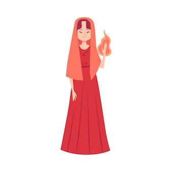 Vrouw of hestia griekse godin staat met vlam in de hand cartoon stijl