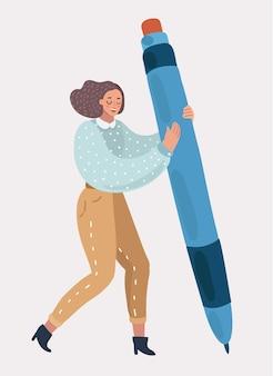 Vrouw of meisje die in haar handen een grote pen houden