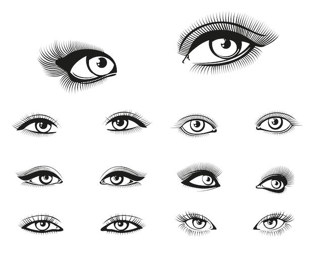 Vrouw ogen ingesteld