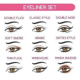 Vrouw ogen make-up set
