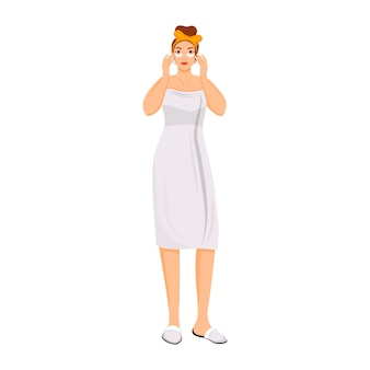 Vrouw onder ogen patches egale kleur anonieme karakter toe te passen. gezichtscrème met behulp van geïsoleerde cartoon afbeelding voor web grafisch ontwerp en animatie. oog donkere kringen en wallen voorkomen