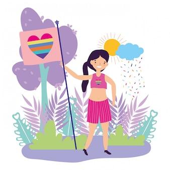 Vrouw ondersteunende lgtbi maart