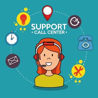 Vrouw ondersteuning callcenter telefoondienst