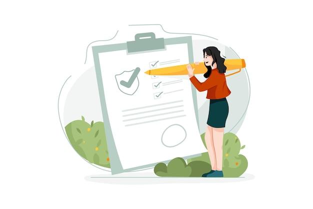 Vrouw ondertekening verzekeringspolis illustratie