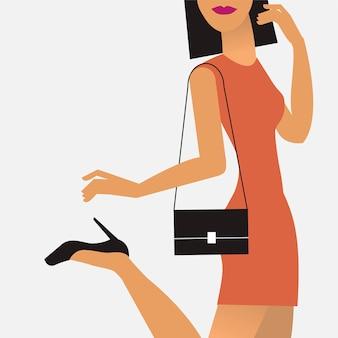 Vrouw onderweg illustratie