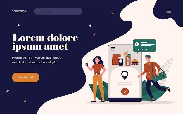Vrouw online eten bestellen. koerier, smartphone, express platte vectorillustratie. bezorgservice en verzendingsconcept voor banner, websiteontwerp of bestemmingswebpagina