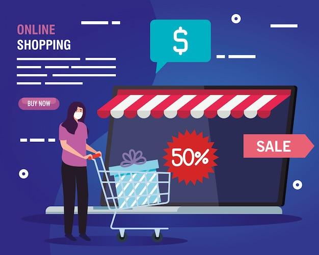 Vrouw online kopen tijdens covid 19, concept marketing en digitale marketing in laptop met korting