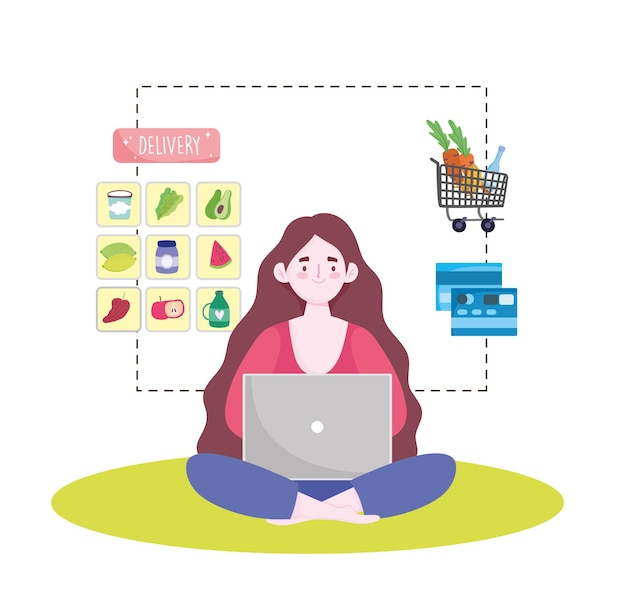Vrouw online kruidenier