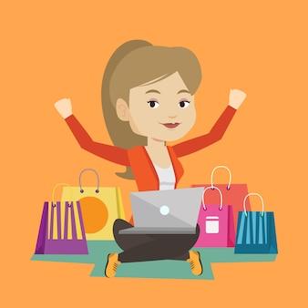 Vrouw online winkelen.