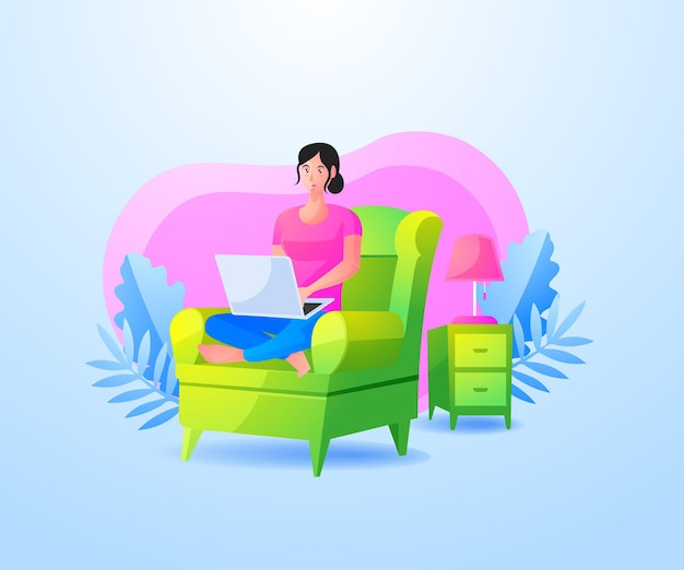 Vrouw ontspannen zittend op de bank en werken met laptop