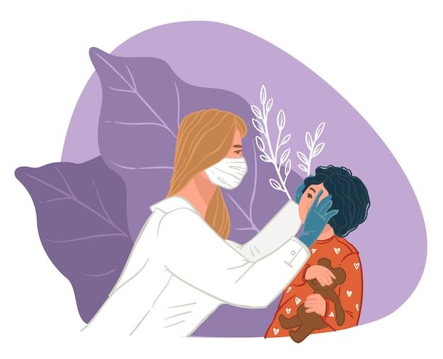 Vrouw oogarts die het gezichtsvermogen van een bang kind met speelgoed controleert. afspraak bij arts in klinieken, gezondheidszorg en behandeling van oogziekten. onderzoek en controle van kinderen, vector in vlakke stijl