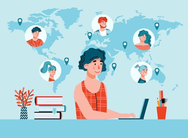 Vrouw op afstand bezig met computer platte cartoon vector illustratie achtergrond