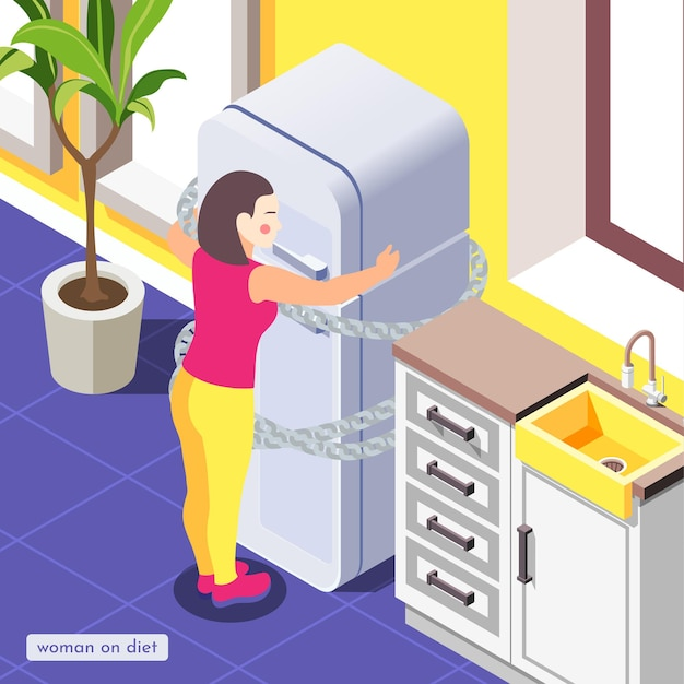 Vrouw op dieet in de keuken isometrische illustratie