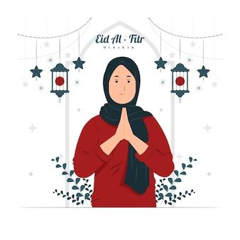 Vrouw op eid al fitr mubarak-illustratie