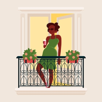 Vrouw op het balkon