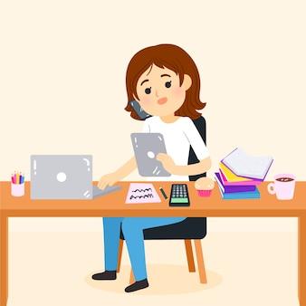 Vrouw op multitasking concept