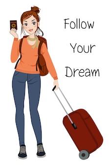 Vrouw op reistrip