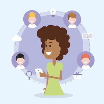Vrouw op sociale netwerken