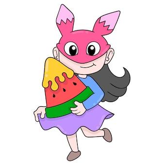 Vrouw op tuinfeest met grote watermeloen, vectorillustratieart. doodle pictogram afbeelding kawaii.