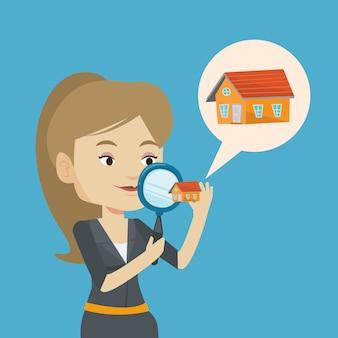 Vrouw op zoek naar huis vectorillustratie.