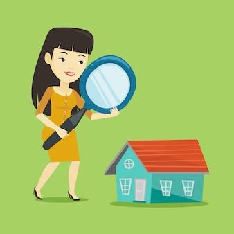 Vrouw op zoek naar huis