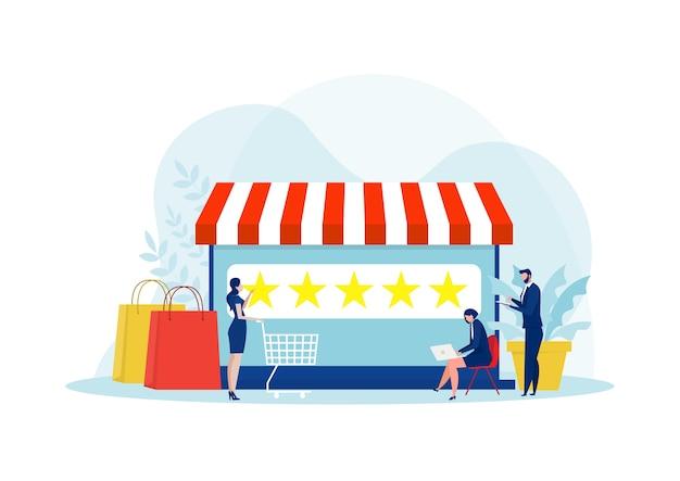 Vrouw op zoek naar omhoog staren niveau om online te winkelen. vijfsterrenbeoordeling van de online winkel.